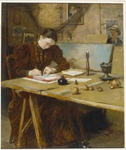 Atelier interieur met schrijvende vrouw