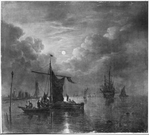 Riviergezicht met boten bij volle maan