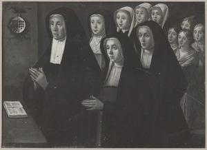 Portret van Catharina Janssdr. van Crooswijk (....-....) en haar 10 dochters