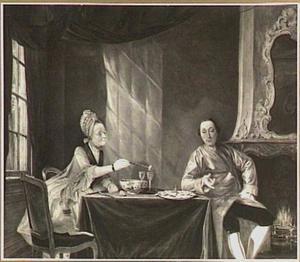 Portret van een man en een vrouw die oesters eten
