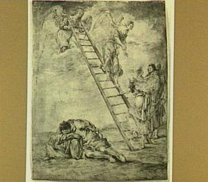 De droom van Jacob: engelen dalen via een ladder uit de hemel neder (Genesis 28:12)