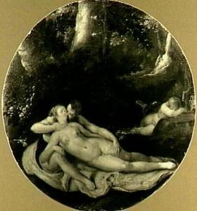 Venus en Adonis als minnaars in het bos