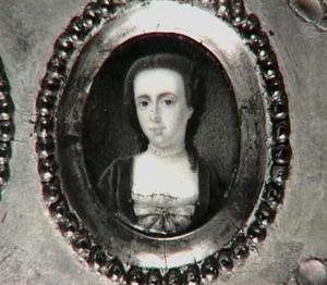 Portretminiatuur van Jacoba Amarantha de Salis (1723-1783), echtgenote van Willem Hendrik Dierkens