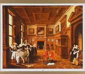 Elegant gezelschap in een voorname zaal