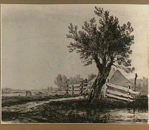 Landschap met knotwilg, boerderij en hek