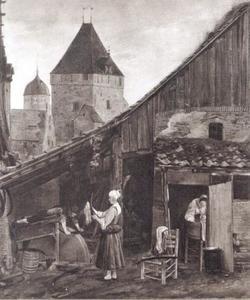 Slijper op zijn werkplaats, met twee vrouwen, de Nieuwe Kruittoren te Zwolle in de achtergrond