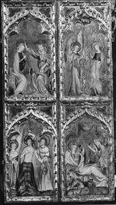 De annunciatie (boven), De geboorte van Christus (onder) (linkerluik); Kroning van Maria (boven), De doop van Christus in de Jordaan (onder) (rechterluik);
