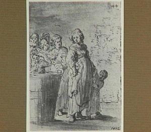 Lazarillo's weerzien met zijn zwangere vrouw en kind (Lazarillo de Tormes dl. 2, cap. 7, p. 74)