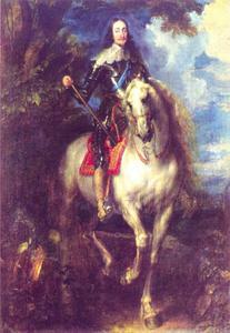 Portret van Karel I van Engeland te paard