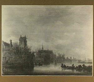 Gezicht op de stadswal van Utrecht met links bastion Manenburg, in het midden de kerk van het Servaasklooster en de Servaastoren en rechts bastion Zonnenburg