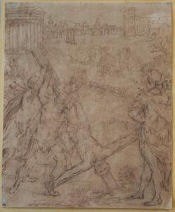De kruisiging van de Heilige Petrus, in de achtergrond Romeinse motieven