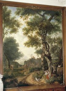 Bosrijk klassiek arcadisch landschap met vrouwen die uitrusten van de jacht