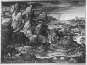 Berglandschap met de boetvaardige H. Hieronymus