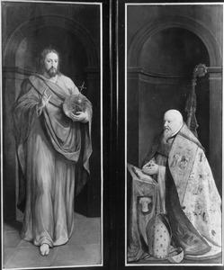 De Viglius-triptiek: Christus als Salvator Mundi (links), Viglius Aytta, tweede gemijterde proost van de Sint-Baafskathedraal (1507-1577) (rechts)