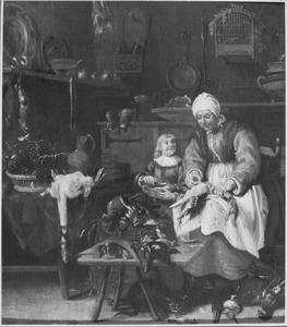 Een oude vrouw en een jongen in een keuken