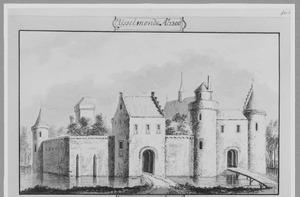 Voorzijde van het kasteel van IJsselmonde bij Rotterdam anno 1300