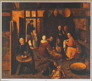 een boerenfamilie in een interieur