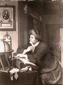 Geleerde in een studeervertrek (op de muur een portret van Michiel Adriaensz. de Ruyter)
