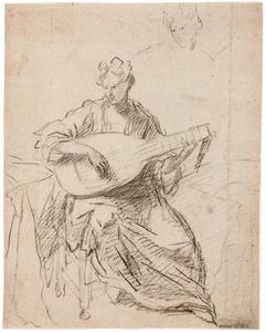 Luitspelende vrouw en een schets van haar hoofd