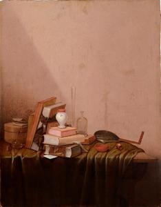 Stilleven met boeken, glaswerk en een luit