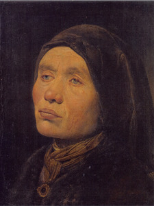 Tronie van een oudere vrouw met een wrat op haar ooglid