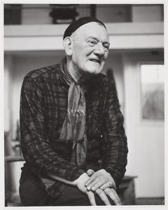 Herbert Fiedler in zijn atelier Rapenburgerstraat, september 1961