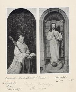 Robrecht de Clercq, tweeëndertigste abt van de cisterciënserabdij Ter Duinen (1515-1557) (buitenzijde rechterluik), Christus als Salvator Mundi (buitenzijde linkerluik)