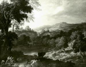 Italiaans rivierlandschap met herderspaar en vee in de voorgrond