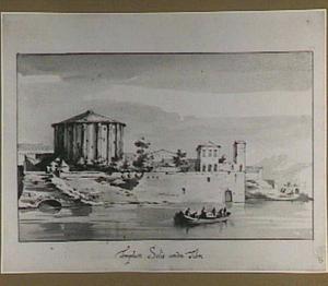 Rome, Forum Boarium met de tempel van Hercules Victor (Santo Stefano delle Carrozze), gezien vanaf de Tiber