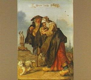 Een blinde draailierspeler en een blinde vrouw met een rommelpot, met op de achtergrond een acrobaat en de Haagse Grote kerk:  'Armoe soeckt list'