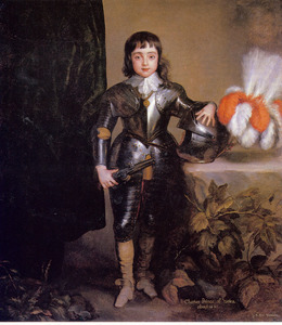 Portret van Karel II van Engeland als kind, staande in een wapenrusting ten voeten uit naast een tafel
