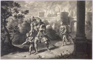 Aeneas vlucht met zijn gezin uit het brandende Troje