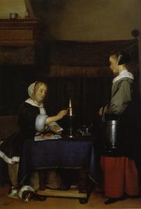 Interieur met een vrouw die een brief verzegelt en een dienstmeid