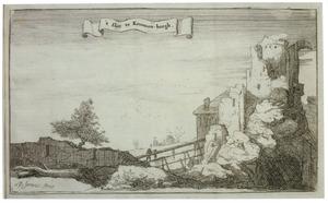 Kasteel Kronenburg bij Loenen aan de Vecht na de verwoesting door Franse troepen in 1673