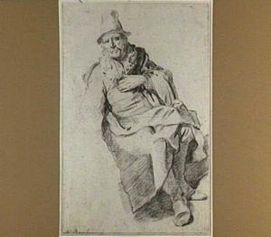Zittende oude man met hoed, een hand op de borst
