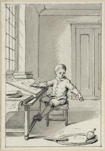 Illustratie voor 'Het vrolijk leeren' in de Kleine gedichten voor kinderen door H. van Alphen