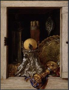 Trompe-l'oeil: geopend kastje met siervaatwerk