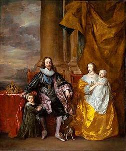 Portret van Karel I en Henriëtte Maria van Engeland, zittend met hun twee oudste kinderen Karel en Maria, met op de achtergrond de Theems bij Westminster