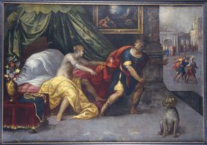 Jozefs kuisheid belaagd door de vrouw van Potifar (Genesis 39:12)