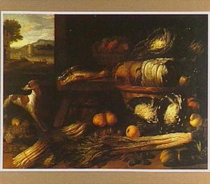 Stilleven van groenten, vruchten en vissen met een hond; links een doorkijk op een rivierlandschap