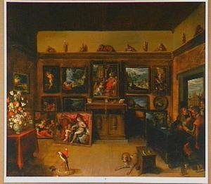 Interieur van een kunstverzameling met geleerden