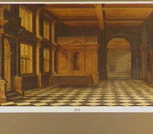 Zaal van een paleis met een tafel