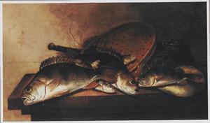 Visstilleven met vergiet en emmer