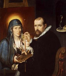 Zelfportret, een Madonna schilderend
