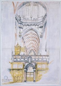 Interieur van de Sint Janskerk te 's-Hertogenbosch, met het oxaal gezien vanuit het koor