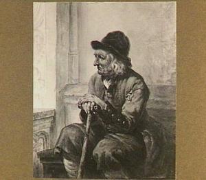 Het model Pieter van Arendonk, zittend met wandelstok
