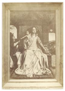 Tronende Maria met kind en engel