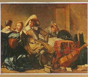 Interieur met een musicerend gezelschap rond een tafel, een man zit te slapen