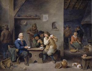 Kaartende boeren in een interieur