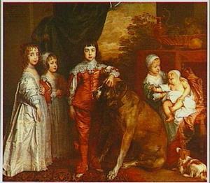 Vijf kinderen van Karel I en Henrietta Maria:  Mary, James, Charles, Henrietta en Anne, staande ten voeten uit, met twee honden